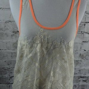 Cream Embroidered See Through Sheer Lace Tank